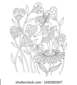 Fairy in heart garden. Zentangle stylized cartoon isolated on white background.  Hand drawn sketch illustration for adult coloring book, T-shirt emblem, logo or tattoo, zentangle design elements.