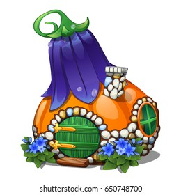 Fairy house in the form of a ripe pumpkin with a blue roof in the form of a flower bluebell isolated on a white background. Vector cartoon close-up illustration.