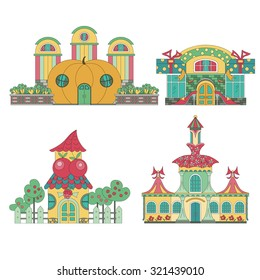 Fairy house: shoe store, store vegetables, fruit shop, clothing store.  Set of cute toy houses.
