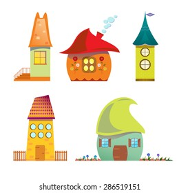 Fairy houses. Cartoon vector illustration