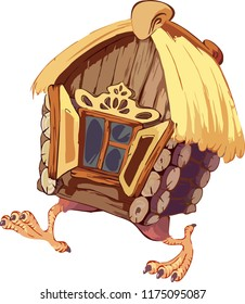 Fairy landscape-the hut on chicken legs. Vector illustration