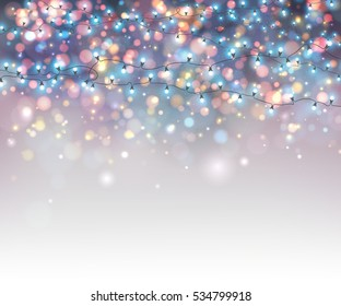 Fairy lights for festive decoration, realistic luminous bulbs. Colourful glowing Christmas garland with blur background and bokeh. Light effects for Christmas greeting cards, poster, flyer