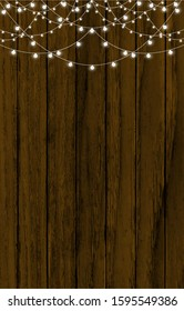 fairy lights, flashlights. realistic garland isolated on wooden background. vector illustration eps10