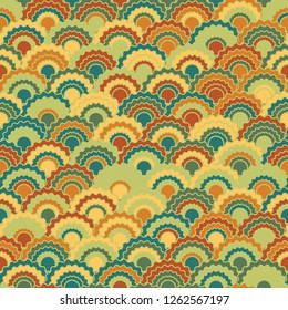 Fairy mermaid scales squama background, vector seamless fabric pattern, tiled textile print. Vintage chinese squama scales seamless arc tiles ornament. Snake skin pattern.