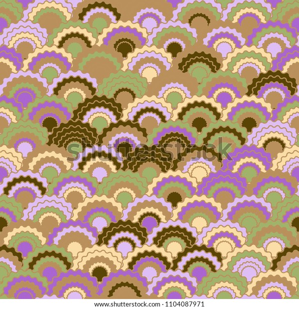 Fairy mermaid scales squama background, vector seamless fabric pattern, tiled textile print. Typical japanese squama scales seamless arc tiles surface. Snake skin pattern.