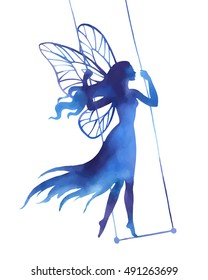 Fairy on swing, watercolor vector silhouette illustration for design, logo, sticker, decoration.