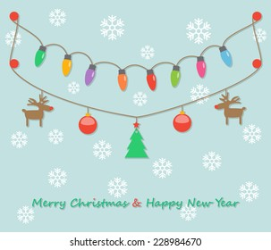 fairy party Christmas light bulbs, Christmas tree, Christmas balls, reindeer hanging on light green background with snowflakes. vector.