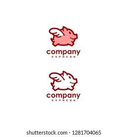 Fairy pig logo vector