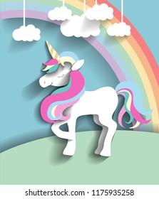 Fairy poster: vector papercut unicorn, rainbow, clouds. Bright fantastic picture.