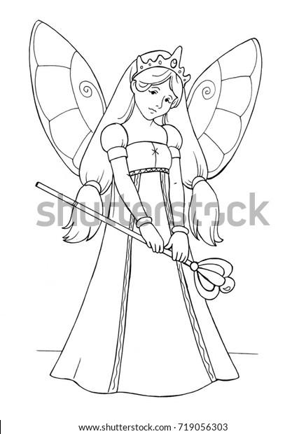 Fairy Princess Vector Illustration Coloring Book Stock Vector ...