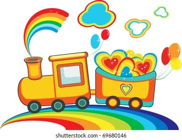 Fairy rainbow train with happy hearts and balloons, vector