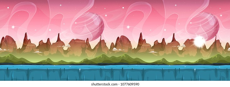 Fairy Sci-fi Alien Landscape For Ui Game Illustration of a cartoon seamless sci-fi alien planet landscape background, with layers for parallax including weird mountains, stars and planets