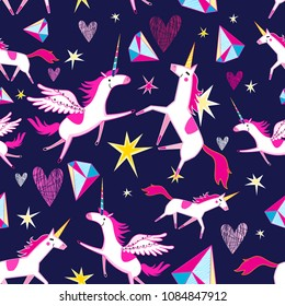 Fairy seamless pattern of funny unicorns on a blue background