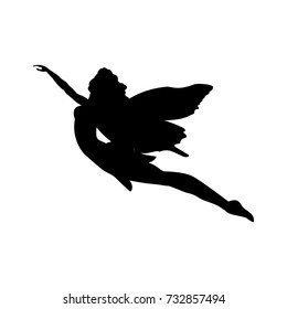 Fairy silhouette fairytale fantasy magical. Vector illustration.