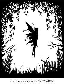 Fairy silhouette on a background of nature