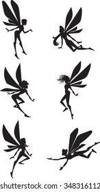 Fairy Silhouettes - Clip Art - Vector Illustration