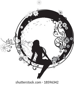 Fairy sitting in a circle with ornate floral arabesques