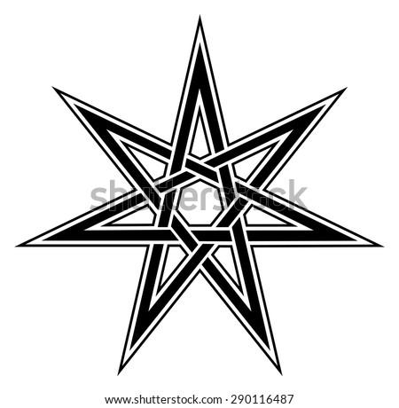 Fairy Star Elven Heptagram Magical Symbol Stock Vector Royalty Free