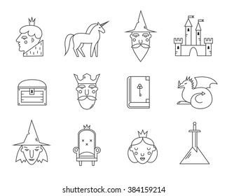 Fairy tail icons set. Vector symbols isolated on white background. Prince, wizard, king, unicorn, witch, dragon, sword, armchair,castle.