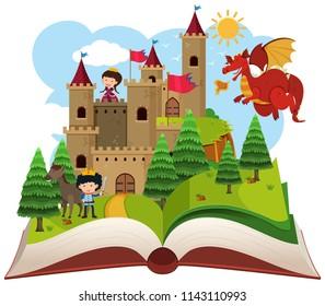 Fairy tail open book illustration