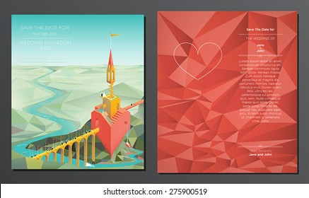 Fairy Tail Wedding Card - Vector double sided wedding invitation card