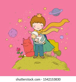 A fairy tale about a boy, a rose, a planet and a fox. prince with a sheep.