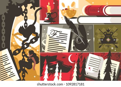 Fairy tale background abstract. Writing fairy tale story fable. Vector illustration