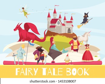 Fairy tale book background with dragon castle and mermaid flat vector illustration