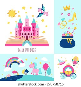 Fairy tale book concept with magic fantasy cartoon characters icons set isolated vector illustration