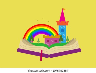 Fairy Tale Book with Imaginative images when opened. Editable Clip Art.