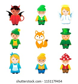 Fairy tale cartoon characters.Dwarves, elves, leprechauns, devil, devil, angel, Princess.