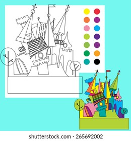 Fairy tale castle. Coloring book for children