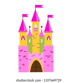 Fairy tale castle with turrets. Princess pink palace. Vector illustration for children, kids books