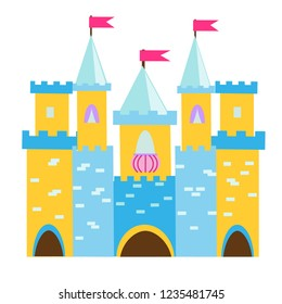 Fairy tale castle with turrets. Princess palace. Vector illustration for children, kids books