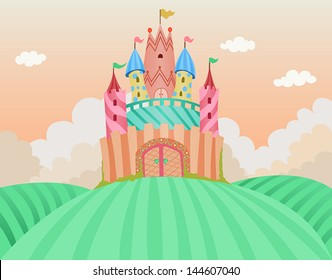 Fairy tale castle vector layered illustration. Cute, sweet, candy colors, good for kids, girly designs.  Available in Illustrator 8.  / Fairy Tale Castle