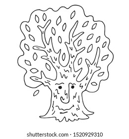 Fairy tale character magic tree. Cartoon fairytale hero - a living tree. Doodles, hand-drawn. Vector illustration for coloring