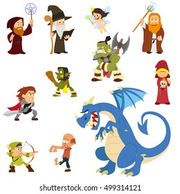 fairy tale characters. fantasy heroes and villains isolated on elom background. vector illustration.