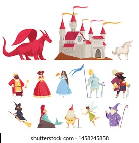 Fairy tale characters icons set with dragon and princess flat isolated vector illustration
