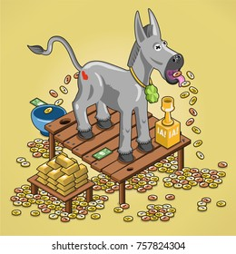 Fairy tale donkey spitting money, surrounded by coins and gold (isometric cartoon)