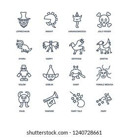 Fairy, Fairy tale, Fanfare, Faun, female Medusa, Leprechaun, Hydra, Golem, Gryphon outline vector icons from 16 set