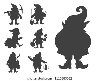 Fairy tale fantastic gnome dwarf elf character black silhouette poses magical leprechaun cute fairy tale man vector illustration