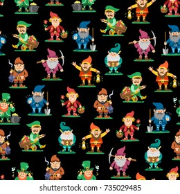 d74ef635574 Fairy tale fantastic gnome seamless pattern background dwarf elf character  poses magical leprechaun cute fairy tale