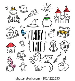 Fairy tale, fantasy and magic related hand drawn doodle illustration with frog, dragon, princess, castle, witch hat, sword, unicorn, pirate, treasure chest.