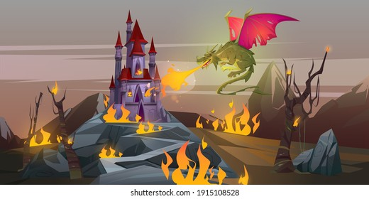 Fairy tale fire breathing dragon attacks magic castle in mountain valley. Vector cartoon fantasy illustration with scary green monster with red wings, burning land, medieval palace and trees