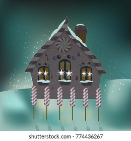 Fairy tale house of candy in a magical winter night