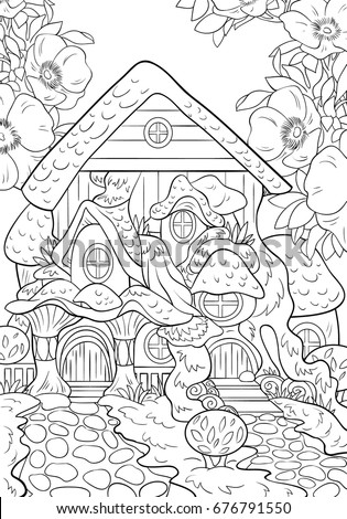 Fairy Tale House Coloring Page Adults Stock Vector (Royalty Free ...