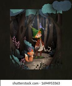 Märchenstudio, süßer kleiner Junge Zauberer vor dem Nachtwald mit Zauberstab und Fuchs