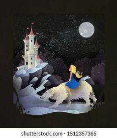 Märchen-Illustratormädchen auf dem Eisbär vor dem Winterschloss