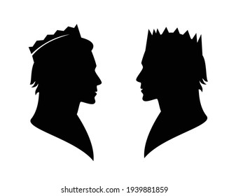 fairy tale king or prince wearing royal crown - noble man black and white vector silhouette head portrait