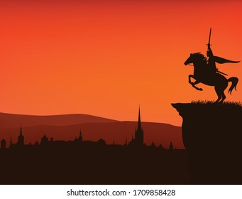 fairy tale king with sword in hand riding rearing up horse on a cliff above medieval city - vector silhouette of fantasy or legend scene